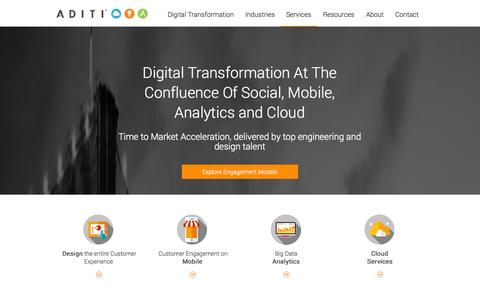 Screenshot of Services Page aditi.com - Execute Social Mobile Analytics Cloud Services using Systems of Engagement with Aditi - captured Sept. 23, 2014