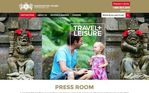 Screenshot of Press Page kensingtontours.com - Press Room - Luxury Travel, Private Guided Travel - captured Dec. 12, 2015