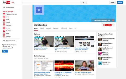 Screenshot of YouTube Page youtube.com - digitallanding  - YouTube - captured Oct. 25, 2014