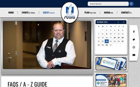 Screenshot of FAQ Page nationwidearena.com - A - Z Guide | Nationwide Arena - captured Oct. 23, 2018
