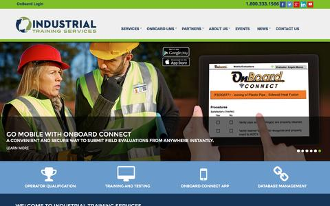 Screenshot of Home Page its-training.com - Industrial Training Services Home - captured Feb. 4, 2016
