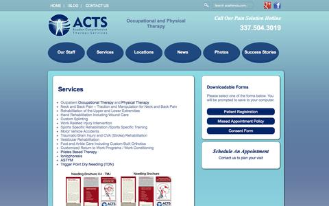 Screenshot of Services Page acadiancts.com - Outpatient Physical Therapy | Neck Back Pain | Sports Therapy | ASTYM - Physical Therapy – Occupational Therapy – Lafayette - captured Oct. 4, 2014