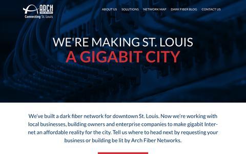 Screenshot of Home Page archfibernetworks.com - St. Louis Dark Fiber | Arch Fiber Networks - captured July 30, 2018