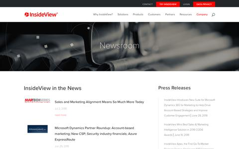Screenshot of Press Page insideview.com - Newsroom and Press Releases | InsideView - captured July 12, 2018
