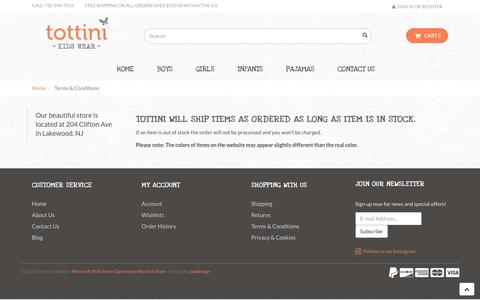 Screenshot of Terms Page tottini.com - Terms & Conditions - Tottini Kidswear - captured Nov. 7, 2017
