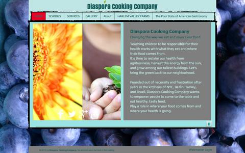 Screenshot of Home Page diasporacooking.com - Diaspora Cooking Company  Wellness  NYC - captured Oct. 5, 2014