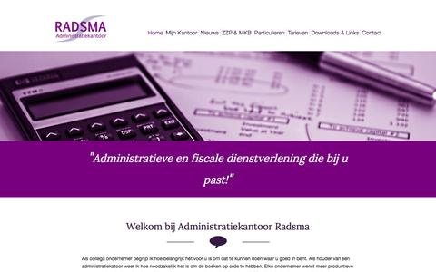 Screenshot of Home Page radsma.nl - Administratiekantoor Radsma - captured Feb. 5, 2016