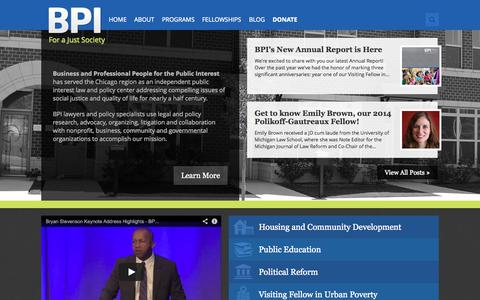 Screenshot of Home Page bpichicago.org - BPI Chicago | For a Just Society - captured Sept. 30, 2014