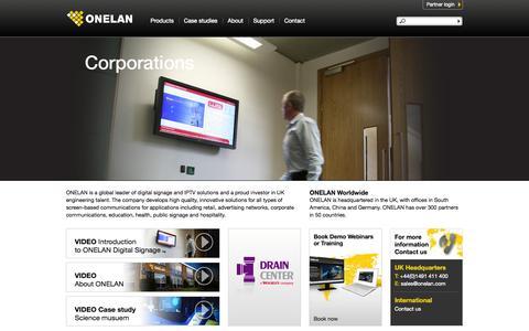 Screenshot of Home Page onelan.com - Digital Signage, IPTV Solutions and Enterprise Communication | Onelan - captured Sept. 19, 2014