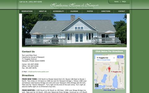 Screenshot of Contact Page Maps & Directions Page hawthornehousebb.com - Contact Us | Hawthorne House of Newport RI | Bed & Breakfast - captured Oct. 22, 2014