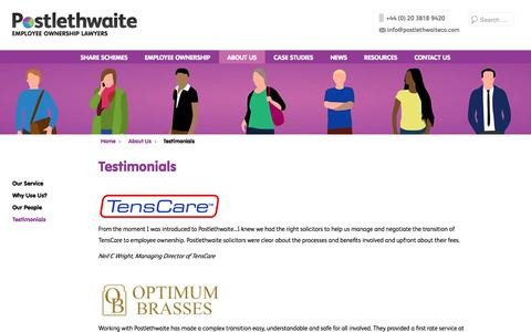 Screenshot of Testimonials Page postlethwaiteco.com - Testimonials | Postlethwaite - captured Aug. 14, 2017