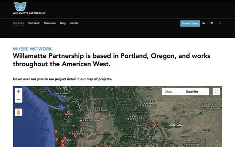 Screenshot of Maps & Directions Page willamettepartnership.org - Map of Projects   Willamette Partnership   Portland, Oregon - captured Sept. 20, 2018