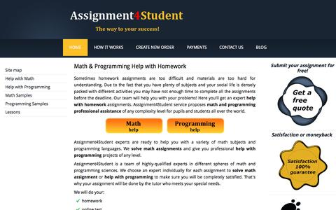Screenshot of Home Page assignment4student.com - Math and Programming Help with Homework - captured July 26, 2016