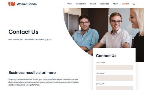 Screenshot of Contact Page walkersands.com - Contact Us | Walker Sands - captured Sept. 11, 2019