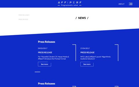 Screenshot of Press Page affiperf.com - NEWS - Affiperf - captured May 12, 2018