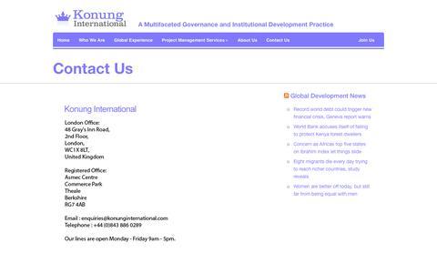 Screenshot of Contact Page konunginternational.com - Konung InternationalContact Us | - captured Sept. 30, 2014