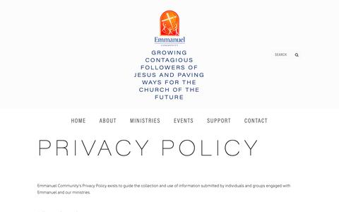Screenshot of Privacy Page emmanuelcommunity.com.au - Privacy Policy — Emmanuel Community - captured Nov. 4, 2018