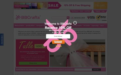 Screenshot of Home Page Login Page bbcrafts.com - BBCrafts - Wholesale Ribbon, Tulle Fabrics, Wedding Supplies, Tablecloths & Floral Mesh at Best Prices - captured Oct. 7, 2015