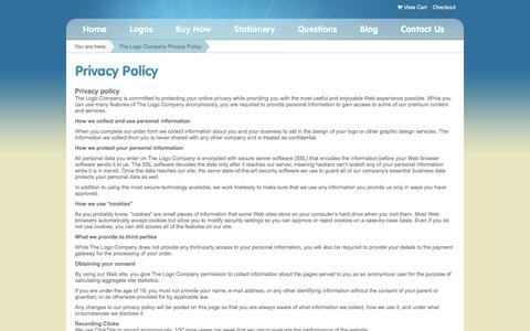 Screenshot of Privacy Page thelogocompany.net - Privacy Policy - - captured Jan. 16, 2016