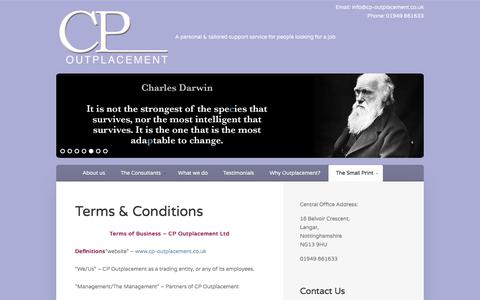 Screenshot of Terms Page cp-outplacement.co.uk - Terms & Conditions - CP Outplacement - captured July 14, 2018