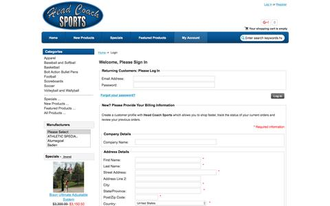 Screenshot of Login Page headcoachsports.com - Login : Head Coach Sports, Your stop for scoreboards, basketball goals, soccer goals, uniforms, and sporting goods equipment - captured Dec. 8, 2015