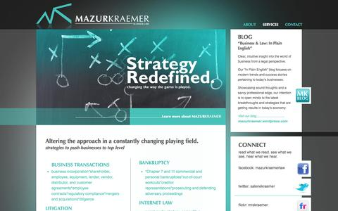 Screenshot of Services Page mazurkraemer.com - MazurKraemer Business Law - Corporate Transactions - Bankruptcy and Restructuring - Pittsburgh - captured Oct. 3, 2014