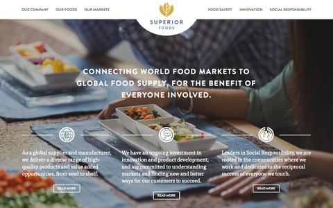 Screenshot of Home Page superiorfoods.com - Superior Foods | Global Food Distributor - captured Aug. 16, 2015