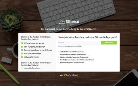 Screenshot of Signup Page billomat.com - Billomat Buchhaltungsprogramm: Registrierung - captured Oct. 5, 2018