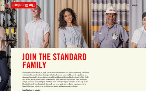 Screenshot of Jobs Page standardhotels.com - Standard Hotels | Boutique Hotels in LA, NYC, and Miami - captured Feb. 18, 2017
