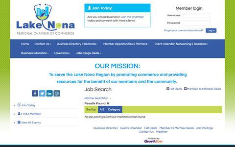 Screenshot of Jobs Page lakenonacc.org - Job Search - Lake Nona Regional Chamber of Commerce, FL - captured Sept. 26, 2018