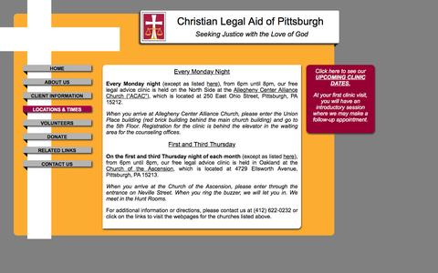 Screenshot of Locations Page clapittsburgh.org - Christian Legal Aid of Pittsburgh - captured Jan. 28, 2016