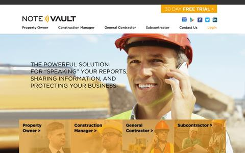 Screenshot of Home Page notevault.com - NoteVault - The Best in Construction Daily Reporting - captured Aug. 11, 2015