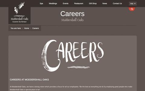 Screenshot of Jobs Page moddershalloaks.com - Careers at Moddershall Oaks Country Spa Retreat - captured Sept. 23, 2018