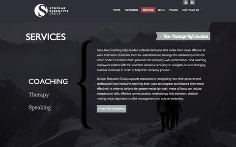 Screenshot of Services Page scholarexecutive.com - Executive Coaching, Differentiated Leadership, Business Training, Human Resources » Scholar Executive Group » Scholar Executive Group - captured Oct. 4, 2014