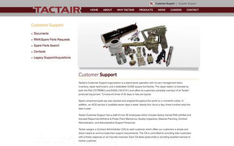 Screenshot of Support Page tactair.com - Customer | Tactair Fluid Controls - captured Dec. 6, 2016