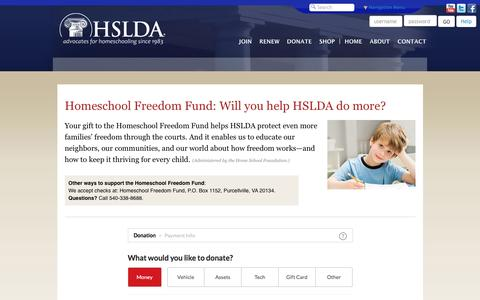 Screenshot of Support Page hslda.org - HSLDA Donate to HSLDA | Homeschool Freedom Fund - captured Oct. 24, 2016