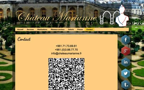 Screenshot of Contact Page chateaumarianne.fr - Château Marianne: Contact - captured Oct. 2, 2014
