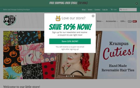 Screenshot of Home Page catslikeus.com - New Vintage, Pin Up, Retro & Rockabilly Clothing for Women & Men – Cats Like Us - captured July 16, 2018