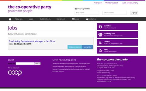 Screenshot of Jobs Page party.coop - Jobs  |   The Co-operative Party - captured Nov. 5, 2014