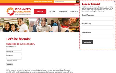 Screenshot of Signup Page kinf.org - Join - Kids in Need Foundation - captured Oct. 17, 2017