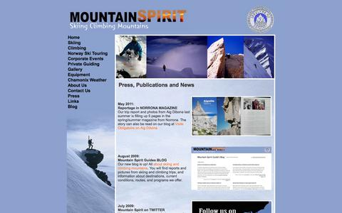 Screenshot of Press Page mountain-spirit-guides.com - Press, publications, news on Mountain Spirit Guides - captured Sept. 30, 2014