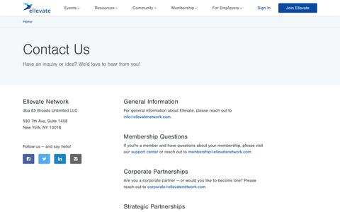 Screenshot of Contact Page ellevatenetwork.com - A Global Professional Women's Network | Ellevate - captured Oct. 13, 2019