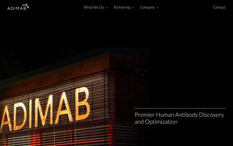Screenshot of Home Page adimab.com - Home | Adimab - captured May 18, 2019