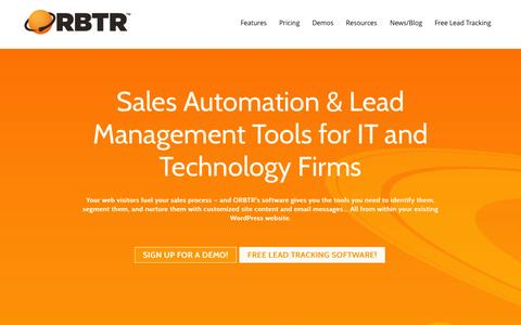 Screenshot of Home Page orbtr.net - Affordable, Easy Marketing Automation & Lead Tracking - captured Jan. 22, 2015