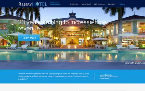 Screenshot of Home Page reservhotel.com - ReservHotel | Simplified hospitality solutions on a central platform - captured Sept. 23, 2014