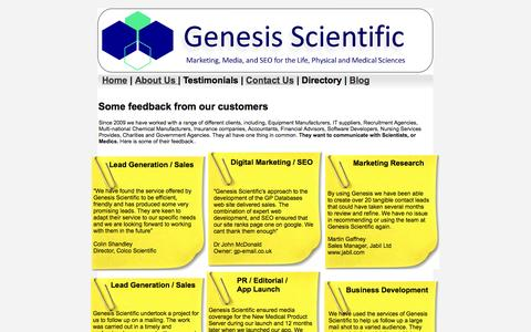 Screenshot of Testimonials Page genesis-scientific.co.uk - Feedback - captured Sept. 29, 2014