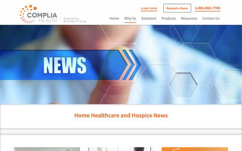 Screenshot of Press Page compliahealth.com - Home Healthcare and Hospice News | Complia Health - captured June 9, 2019