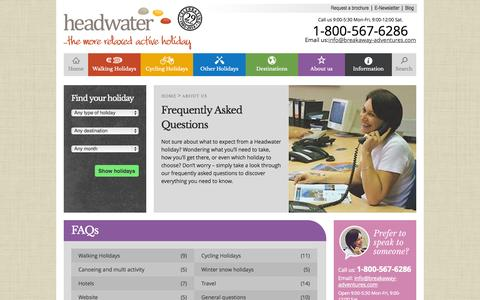 Screenshot of FAQ Page headwater.com - Helpful information about your Headwater holiday - FAQ's - captured Sept. 23, 2014