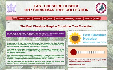 Screenshot of Home Page echtrees.org.uk - The East Cheshire Hospice Christmas Tree Collection - captured Oct. 19, 2016