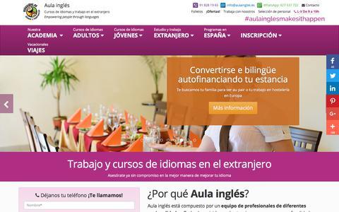 Screenshot of Home Page aulaingles.es - Trabajo y cursos de idiomas en el extranjero - Aulainglés - captured Oct. 9, 2017